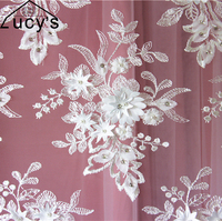 1 Yard ivory 3d lace fabric beaded lace Luxurious embroidery laces for wedding