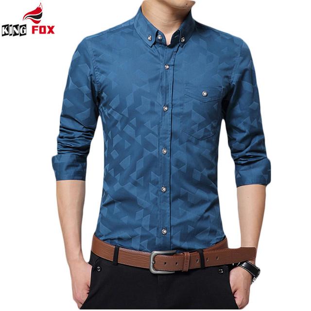 Nueva Moda Casual Hombres Camisa de Manga Larga 100% algodón Delgado Camisa de Los Hombres aptos Para Hombre de negocios Camisas de Vestir impreso Floral Social camisa
