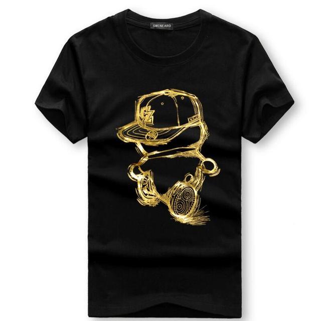SWENEARO męskie koszulki lato z krótkim rękawem na co dzień bawełna koszulki męskie złoty osoby drukowania kreskówki t shirt męska koszulka 4XL 5XL