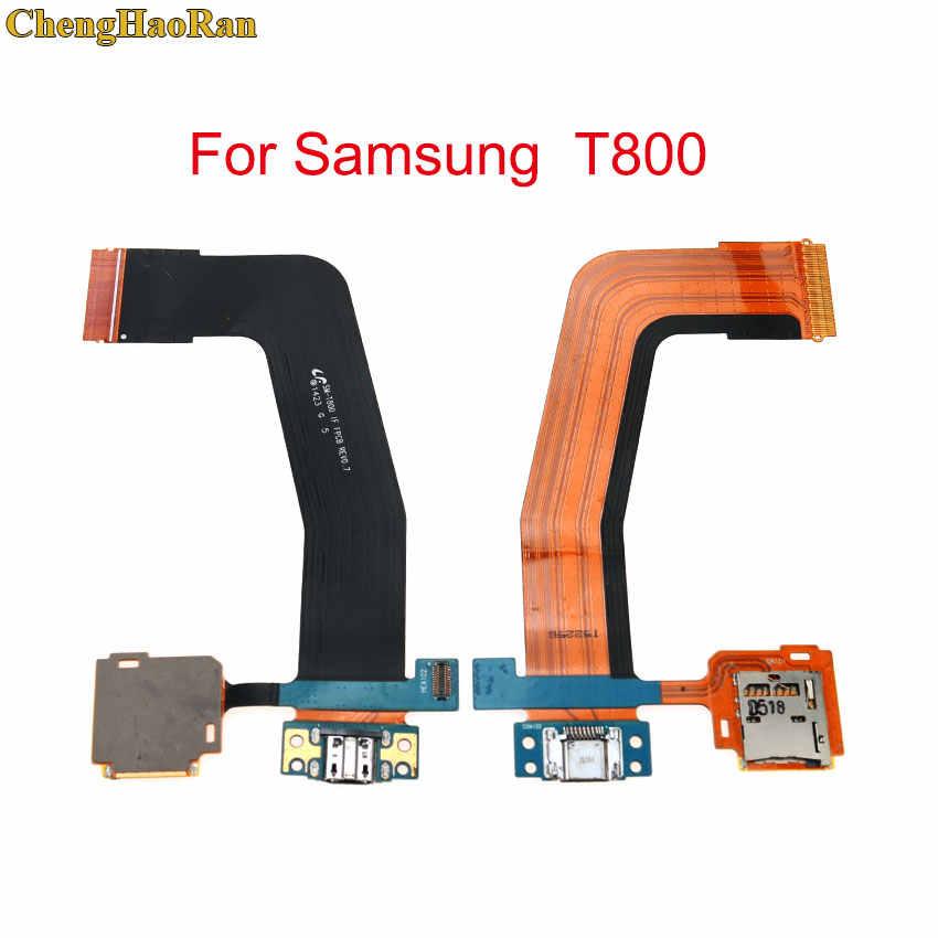 Chenghaoran untuk Samsung Galaxy Tab S 10.5 SM-T800 T801 T805 Memori Kartu Holder Biaya Pengisian Port Konektor LCD FLEX Kabel