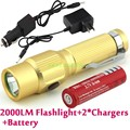 2014 New Aluminum Alloy Mini Cree Q5 Best LED Rechargeable Flashlight Torch With Clip + 18650 Battery + Car Charger + AC Charger
