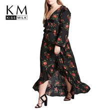 Kissmilk Plus Size Women Red Floral Rose Print Black Skirt High Low On The Beach Loose Fit Basic Long Party