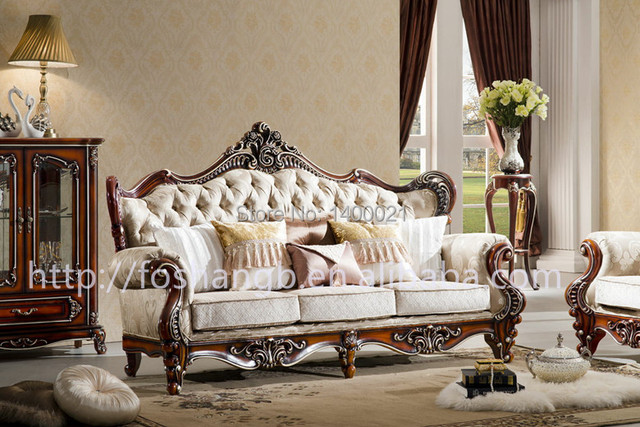 European Style Classic Wood Sofa Design Living Room Wooden Sofa In