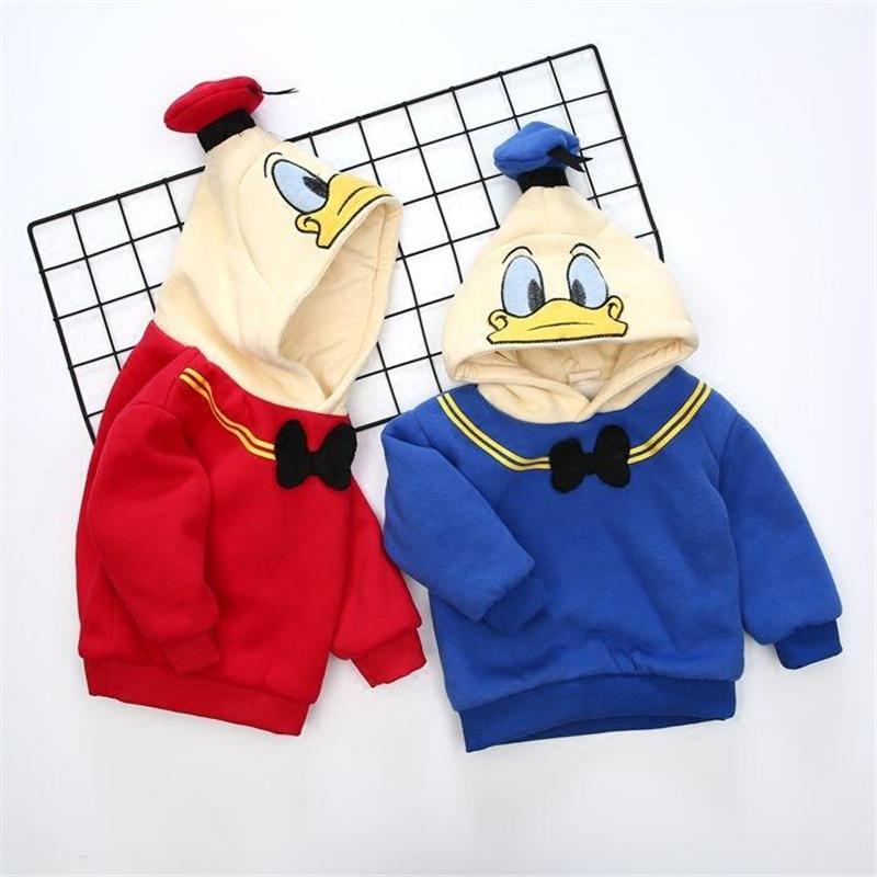 Autumn Winter Thicken 1 5T Boys Hoodies Sweatshirt Baby Cartoon Girl Pullover Bow Tie Boys Jumper Children Fleece Sweatshirt