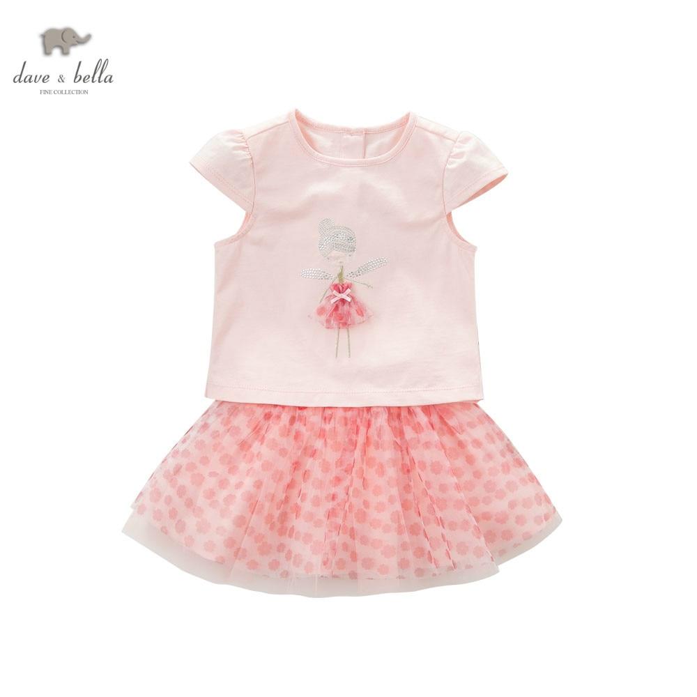 DB5468 dave bella summer baby girls set pink flowers 2 pc set girls skirt sets infant clothes kids baby costumes