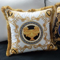 Cao cấp bất Châu Âu phong phú Pháp Ý thiết kế in ấn Rococo thương hiệu Medusa cưới màu đỏ vàng lại cushion covers sang trọng trường hợp