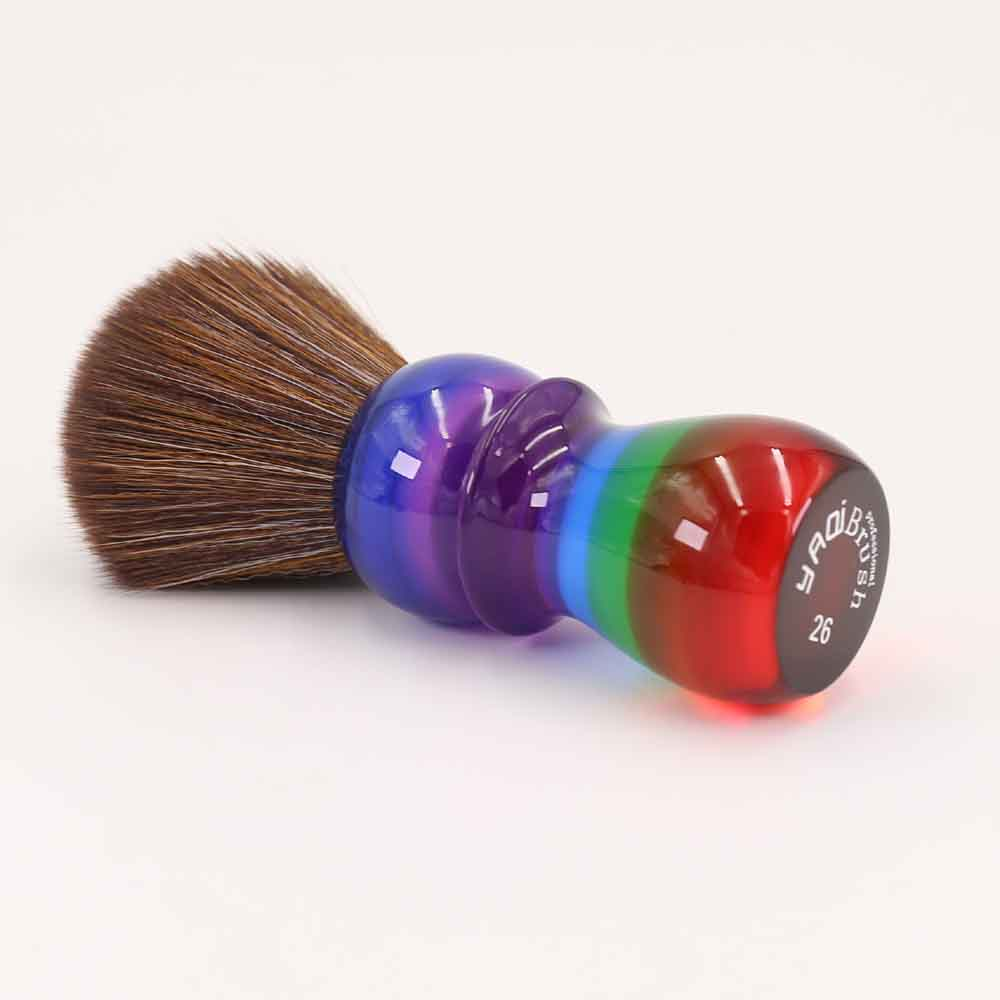 Yaqi 26mm Rainbow Brown Synthetic Hair Shaving Brushes 1