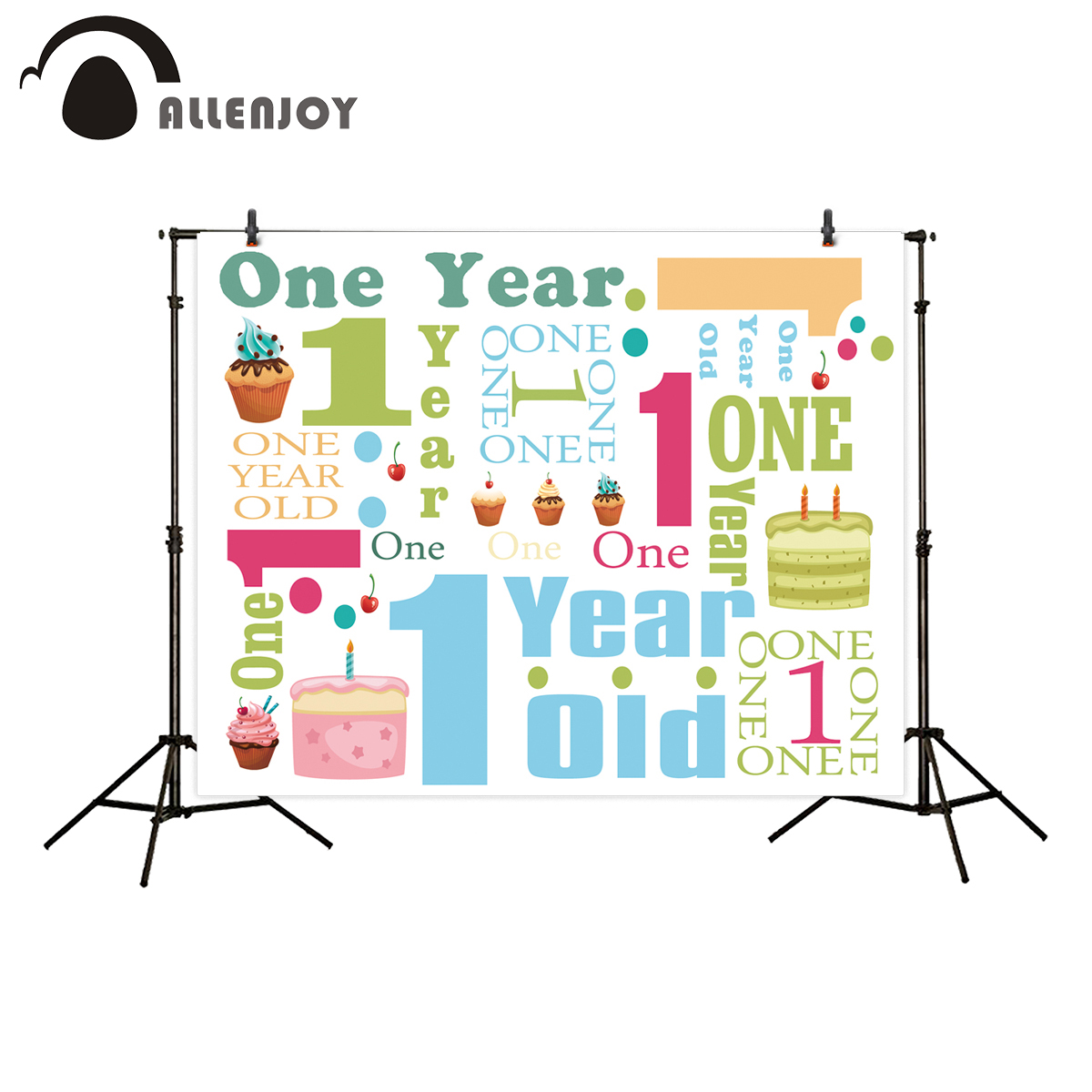 Allenjoy background for photos birthday colorful one year old cake backdrop photocall printed customize photobooth