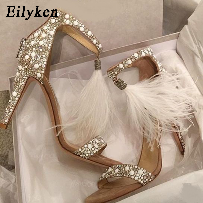 Eilyken Sexy Women Sandals Pumps Summer Rhinestone Zipper Feather High Heel  Apricot Women Wedding Pumps Shoes a62ae32988a5