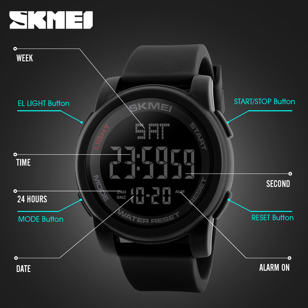 Digital Watches Men's Watches Popular Brand Skmei Top Luxury Brand Mens Sports Watches Chrono Countdown Men Led Digital Watches Man Military Wristwatches Relogio Masculino