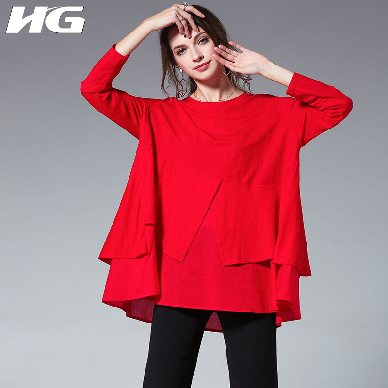 [HG] Europe Fashion New Women 2019 Spring Summer O-neck Full Sleeve Loose Shirt Female Solid Color Casual Blouse  DLL1845