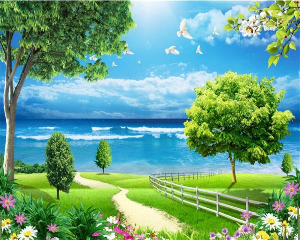 US $8 85 OFF Beibehang 3D Wallpaper Pemandangan Gambar Langit Biru Awan Putih Pohon Bunga Pemandangan Ruang Tamu Kamar Tidur TV Lukisan Dinding