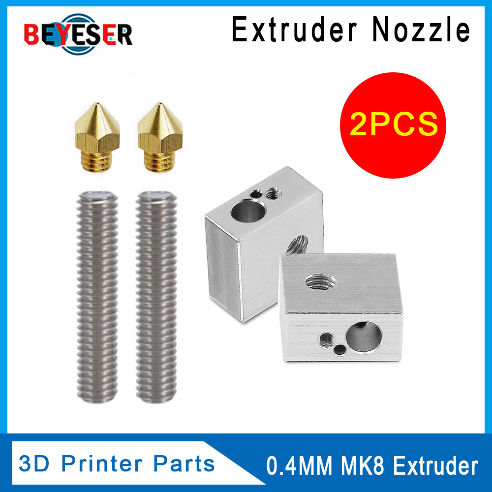 Anet A8&A6 3D Printer Part 2PCS 0.4mm Extruder Nozzle+2PCS 1.75mm Throat Tube+2PCS Heater Blocks Hotend for Mk8 MakerbotAnet A8&A6 3D Printer Part 2PCS 0.4mm Extruder Nozzle+2PCS 1.75mm Throat Tube+2PCS Heater Blocks Hotend for Mk8 Makerbot