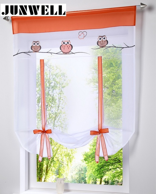Roman Shade European Owl Embroidery Style Tie Up Window Curtain Kitchen  Curtain Voile Sheer Tab Top