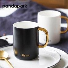 Pandapark золотой край керамика личность кружка молоко герой бой стакан офис кофе стакан кружки для завтрака PPX032