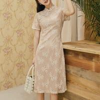 2019 arrival lace female red mandarin collar qipao elegant chinese bride wedding dress lady long vintage cheongsam