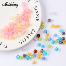 Acrylic Round Beads Cracked Transparent Straight Hole beads for needlework Necklace bracelets women accessories for jewelry Gift vintage acrylic matte rubber paint straight hole pumpkin beads hair accessories beaded drop earrings for women diy ear jewelry