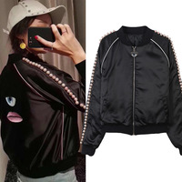 New Plate Pearl Pearl Eye Pattern Jacket Loose Baseball Clothes