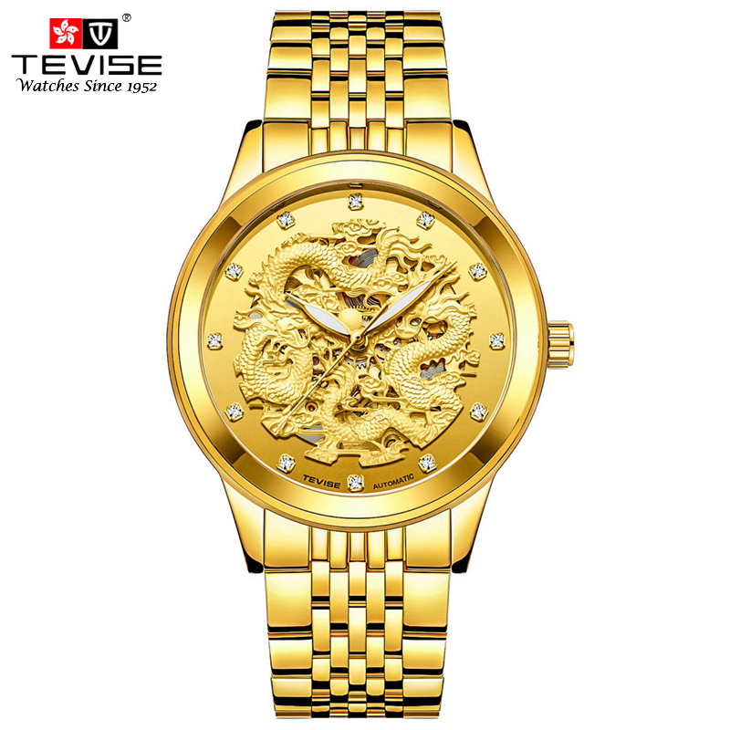TEVISE Gold Dragon Relogio Masculino Automatic Mens Watches Top Brand Luxury Mechanical Watch Full Steel Business Wristwatches tevise luxury automatic mechanical watch men full steel business waterproof wristwatches auto date week relogio masculino t807b