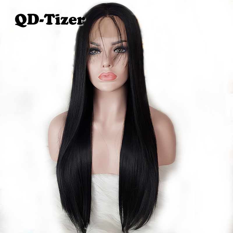 QD Tizer Long Straight Hair Black Color Lace Front Wig with Baby Hair Glueless Synthetic Lace