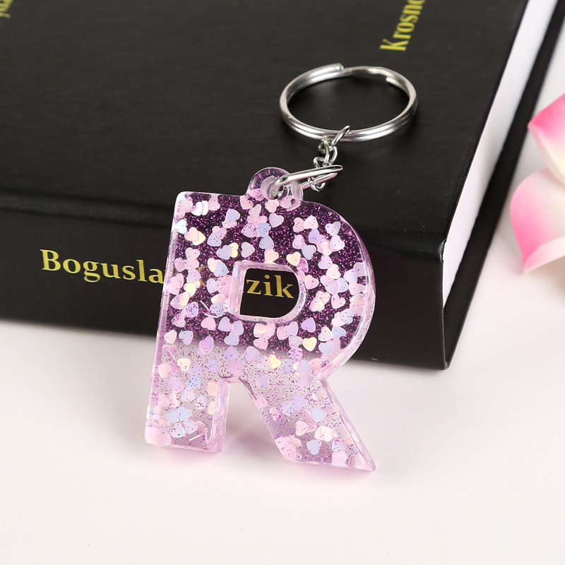 1PC KEYRING 26 English Word English Letter Keychain  Glitter Resin R TO Z Handbag Charms For Woman