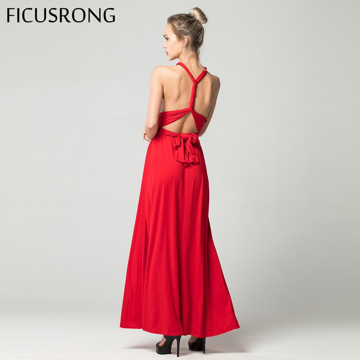 Sexy longue robe demoiselle d'honneur formelle Multi voies Wrap Convertible infini Maxi robe rouge évider fête Bandage Vestidos FICUSRONG