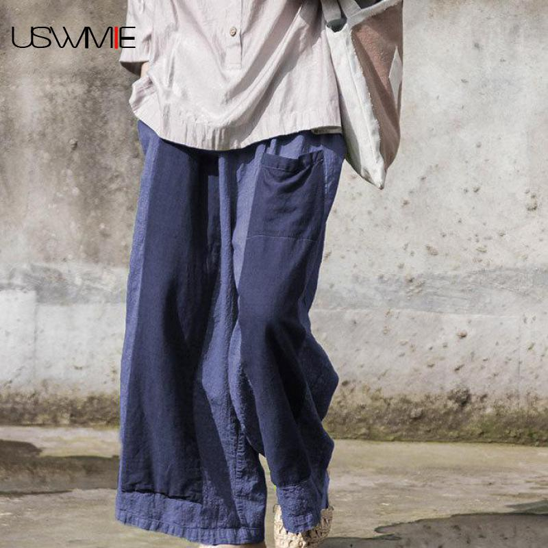 USWMIE 2018 Summer Trousers Women Literary Joker Patchwork Contrast Color Pocket Elastic Waist Comfort Breathable   Wide     Leg     Pants