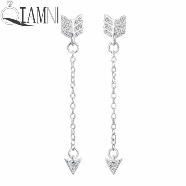 Qiamni 925 Sterling Silver Elegant Arrow Star Bow Long Chain Stud Earring For Women S Christmas