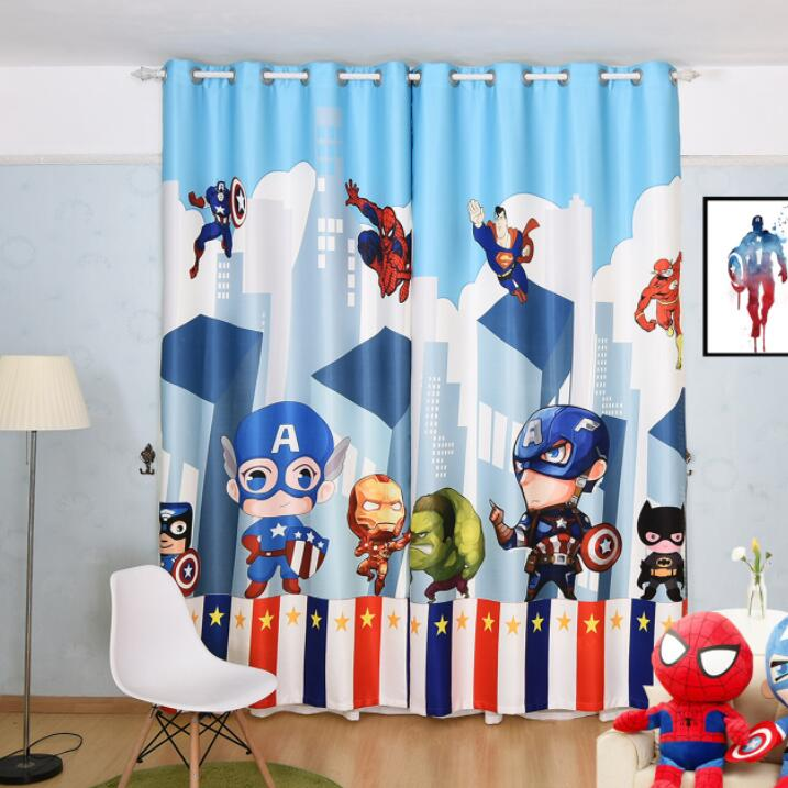 Cartoon Super Heros The Avengers Curtain for Living Room Boys Children Bedroom Sheer Kids Cortina Window Treatment 70% Shade 2pc