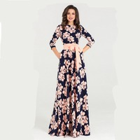 Elegant Print Spring Dress Women O neck Loose Style Long Party Dress Hot Sale Women Vestidos