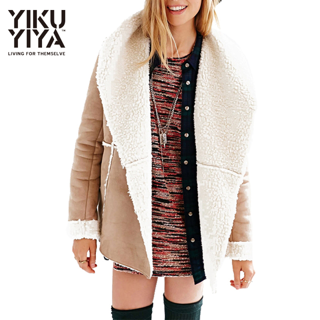 YIKUYIYA Fashion Women Clothing Winter Coat Single Breasted Lamb Wool Coat Turn-down Collar Faux Suede Sandy Beige Trench Coats