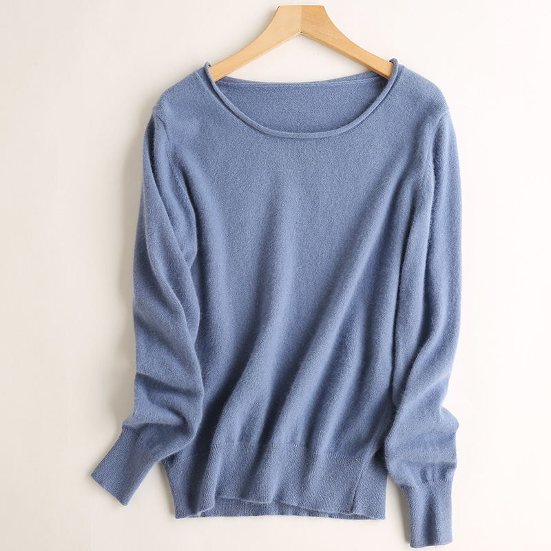 2019 New Spring And Autumn Fashion Cashmere Sweater Women's Pullovers Round Necks Curly Edge Sweaters Women's Pure Basic Sweater
