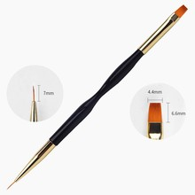 цена на 1pcs Dual-Ended Nail Art Brush Gold & Black Handle UV Gel Line Drawing Brushes for DIY Nails 3d Carving Liner Painting Pen