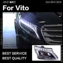 AKD Car Styling Head Lamp for Vito Headlights 2013-2018 All New Vito LED Headlight LED DRL Hid Bi Xenon Auto Accessories(China)