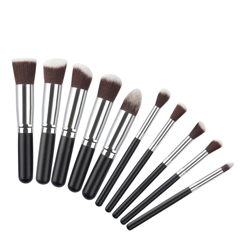 10 st Professional Min Makeup Brush Set Maquiagem Beauty Foundation Pulverögonskugga Kosmetika Makeupborstar Kabuki Borstverktyg