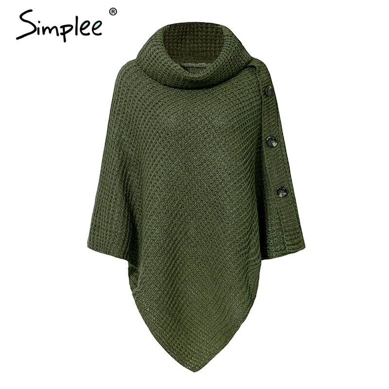 Turtleneck Knitted Casual Cloak Pullover 4