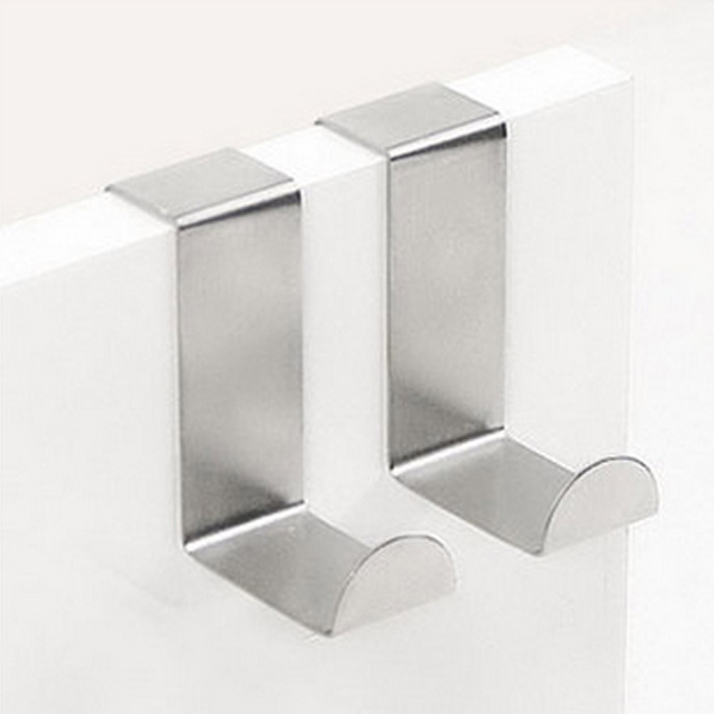 2pcs/pack Multifunctional Stainless Steel Door Hooks Hanger Holder For Hanging Coat Clothing Bathroom Towel Food Bags In Kitchen