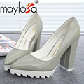 2016 woman shoes  pointed toe thick heel high heel shoes tacon alto sapato de salto alto plarform zapatos mujer pump 57s