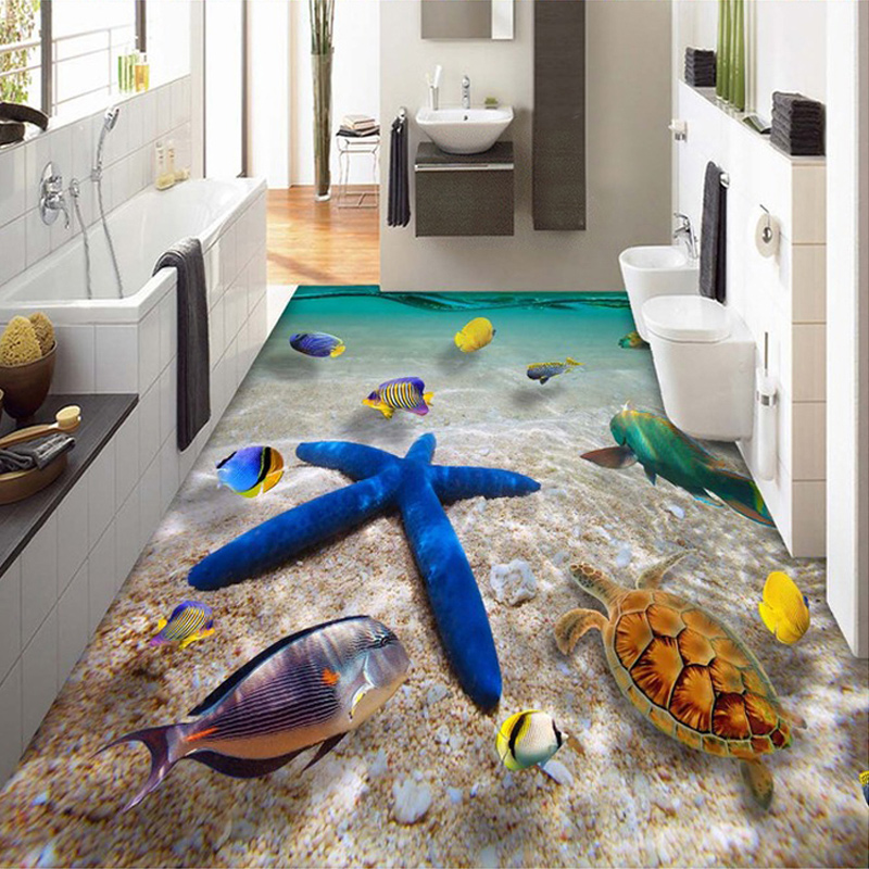 HD Submarine World Starfish Sea Water Photo Mural Wallpaper 3D Floor Tiles  Floor Painting PVC Bathroom