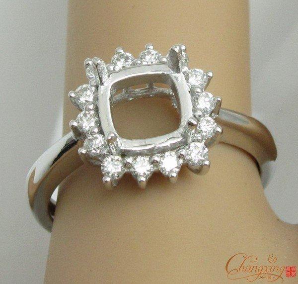 2012 ¡ Nuevo!! 7x7mm Cojín VS Diamante Anillo de Compromiso Sólido 14 k Oro Natural, Joyería al por mayor