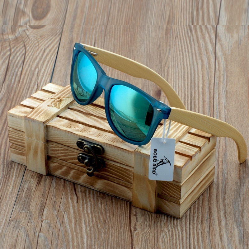 BOBO BIRD Transparant Blauw Vierkant Zonnebril Dames Bamboe Hout Zonnebril Mirrored Gepolariseerde zomerstijl in WoodBox BS05
