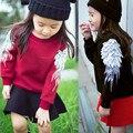 2017 Nuevas muchachas de los cabritos muchachos Suéter ropa Niños Primavera Suéter niñas Niños Ropa Alas Del Ángel Wings 3d Invierno Abrigos CE020
