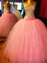 Beautiful Corset Bodice Crystals Long Pink Rhinestones Silver Ball Gown Quinceanera Dresses Tulle Shining Formal Dress