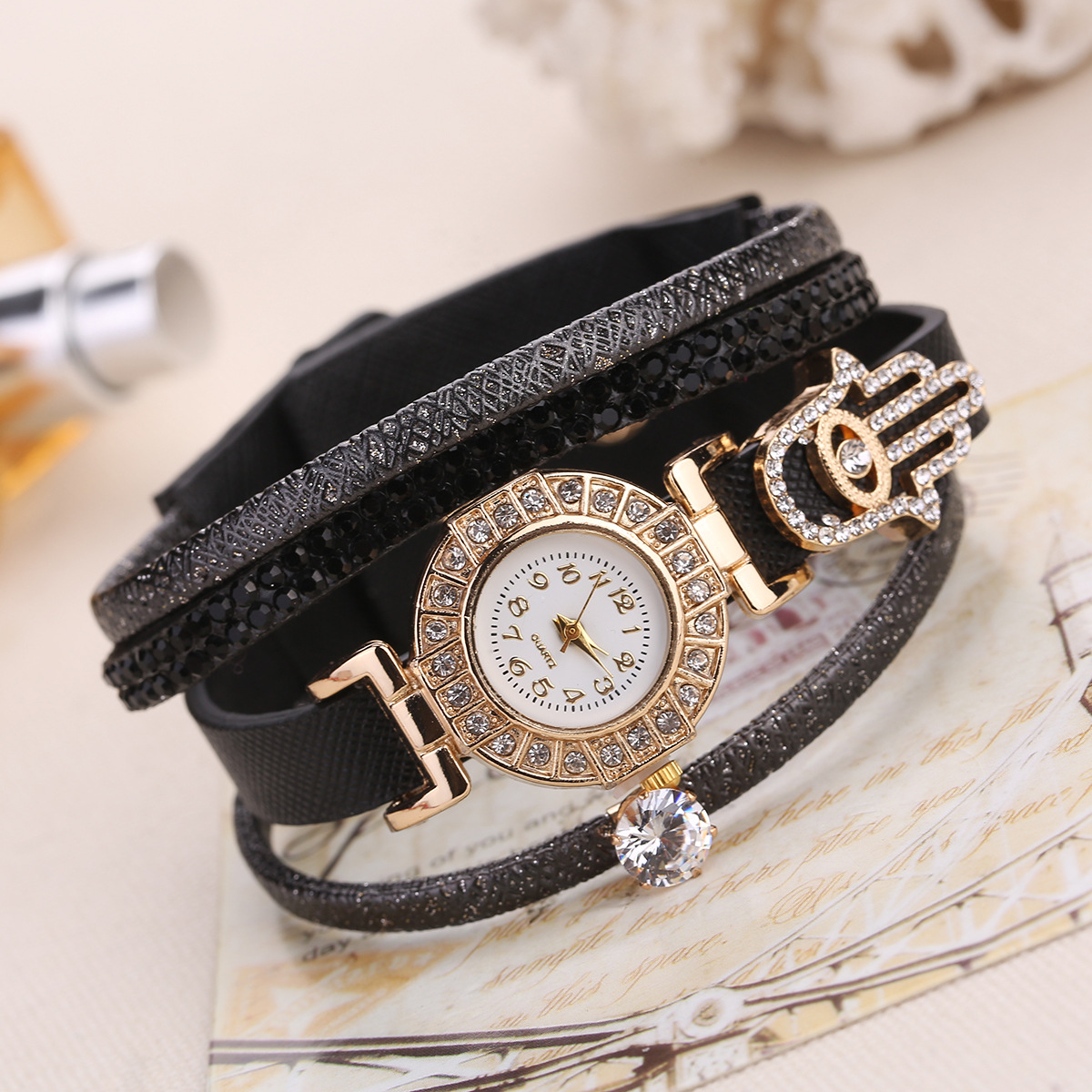 Fashoin Bracelet Watch Women Luxury Gold Crystal Dress Watches Ladies Vintage Quartz Wristwatches Montre Femme Relogio Feminino
