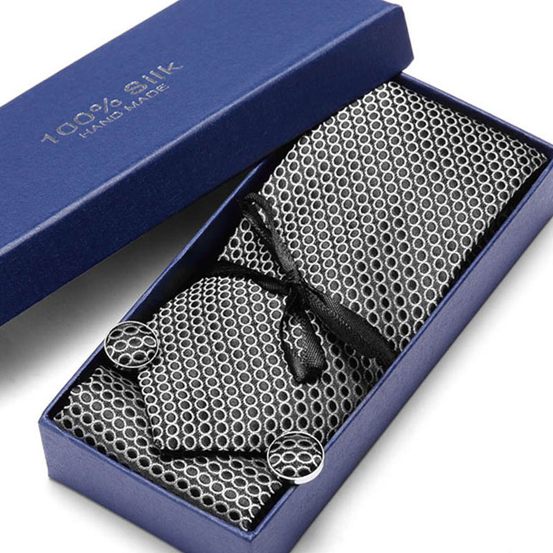 Gift Box Brand New Luxury Grey Tie Set 7cm Black  Plaid Necktie Gravata Pocket Square Handkerchief Cufflinks Suit For Wedding