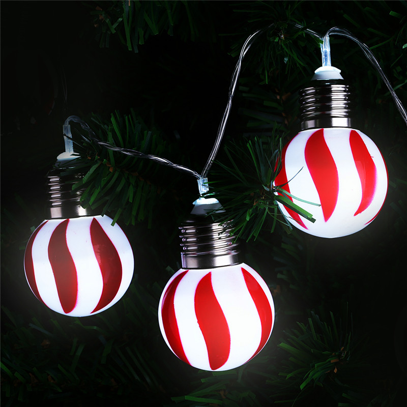 finether battery powered 10 leds red and white stripe globe ball string lights christmas halloween party decor commercial use - Commercial Halloween Decorations