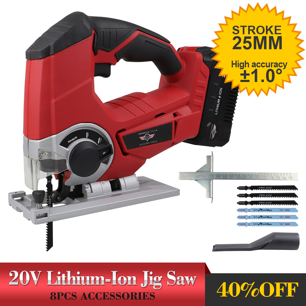 25mm Stroke HEPHAESTUS 20V Li-ion Jigsaw Scroll Saw With 6 Blades,Tool-less Blade Change,LED,Dust Extractor,Cutting Angle ±45°