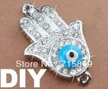 10Pcs Blue Enamel Evil Wholesale Eye  Alloy Crystal Rhinestones Sliver hand Hamsa Hand Shamballa DIY Bracelet Connector Beads