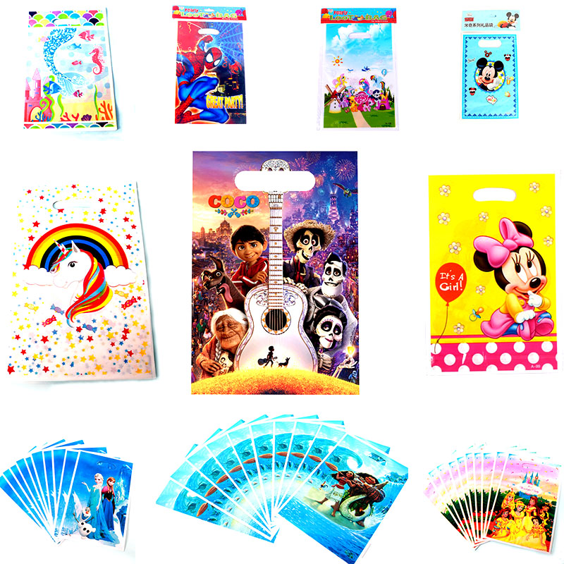 Cartoon Minnie Mermaid Theme Gift Bag Baby Birthday Party Wedding Decoration Candy Cookies Dessert Plastic Bags