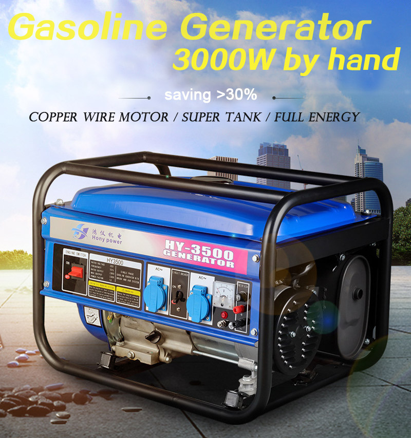 Household Gasoline Generator 3000W 220V 50Hz Single-phase Generator Set 3kW Mute Generator Outdoor Hand Start-up Save Oil New